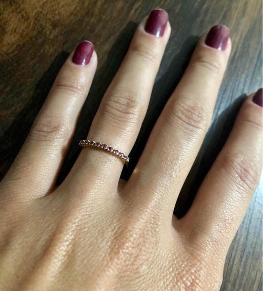 Anel Em Ouro 18k Com 9 Pedras De Rubi Natural (750)