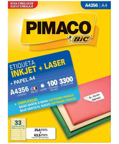 Etiqueta A4356 25x63mm 3col 3300un / 100fl / Pimaco