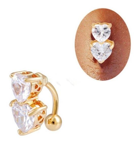 Piercing De Umbigo Invertido Dourado Prata Zirconia Coração