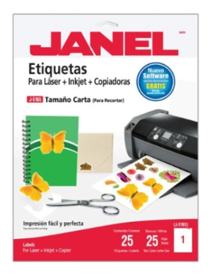 Etiquetas Adheribles Tamaño Carta 25 Piezas Janel Full