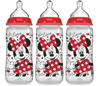 Set 3 Teteros Bebe Nuk Ortodontico Minnie Mouse 10 Oz