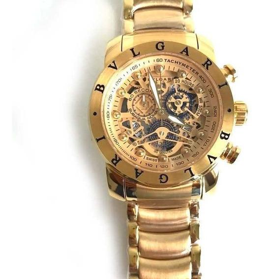 Relógio Bv Gold Automatico Dourado 18k Top Promocional Real