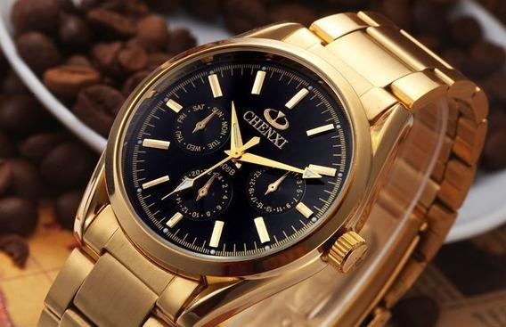 Chenxi Dourado Relógio Militar Quartzo De Luxo Dos Homens!