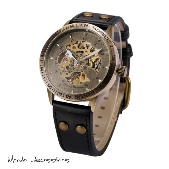Relógio Engrenagem Esqueleto Aberto Auto Wind Mecânico Inox