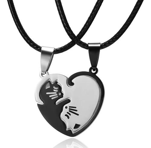 Collar Parejas Novios Acero Corazón Yin Yang Gato Amistad
