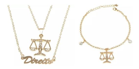 Colar Duplo E Pulseira Direito Justiça Advogada Folheado