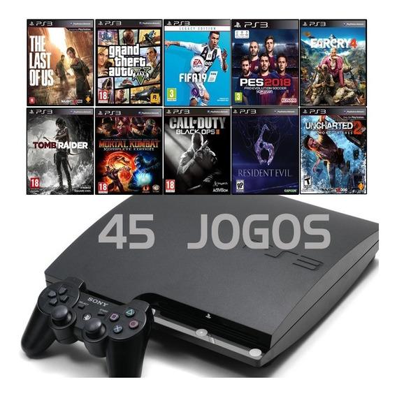 Ps3 Slim + Fifa 19 + Gta5 + God Of War + Total 45 Jogos