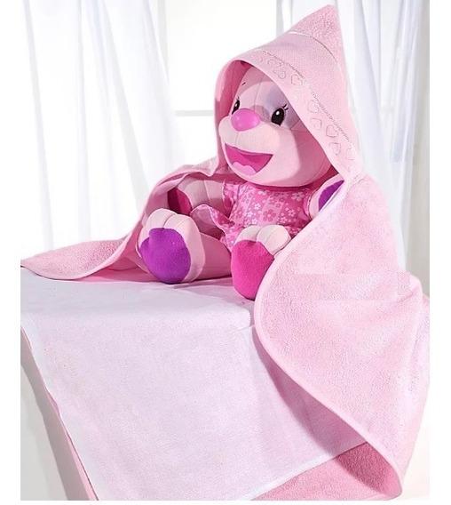 15 T Banho P/bebê Baby Love Rosa C/fralda P/bordar C/capuz