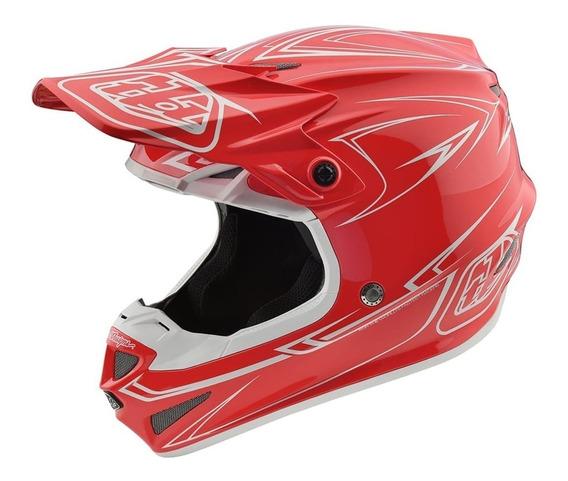 Casco Motocross Troy Lee Se4 Polyacrylite Pinstripe Rojo