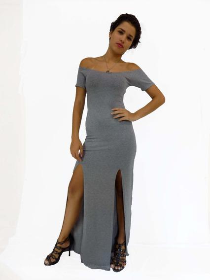 Vestido Feminino Longo Maguinhas Duas Fendas Super Elegante