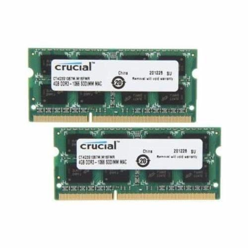 Kit Memorias Mac 2x4g Crucial 4g Pc8500 1066mhz