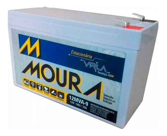 Bateria Estacionária Moura 12v 9ah Vrla Nobreak Alarme Cerca