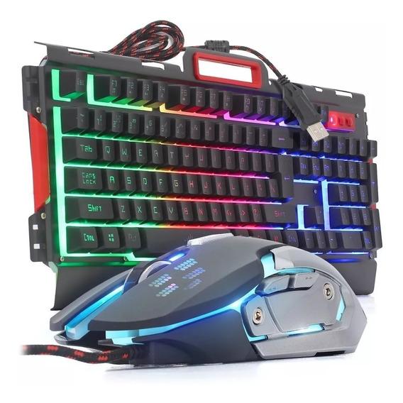 Kit Teclado Mouse Gamer Usb Rgb Metal Semi Mecânico Bk G3000