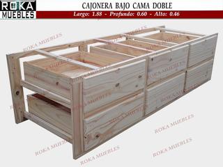 Cajonera Bajo Cama Doble Carro Cajón 6 Cajones Apoyo 60 Prof