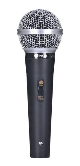 Microfone Vocal Com Fio Mv-60 Preto Corpo Metal, Cabo De 4m
