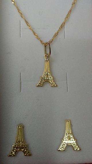 Cadena Con Dije Y Aretes De Torre Eiffel Oro 10k De 50cm