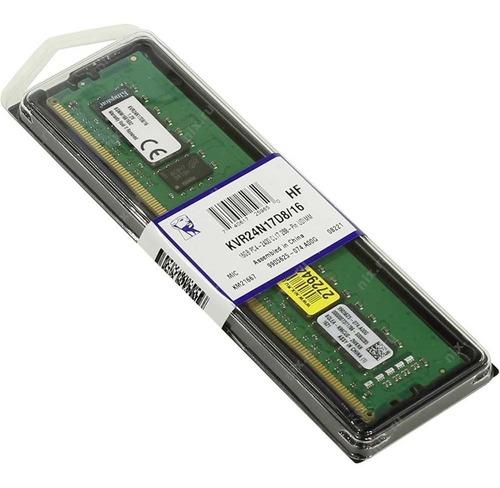 Imagem 1 de 1 de Memória Pc 16gb Ddr4 2400 Mhz Kingston Kvr24n17d8/16