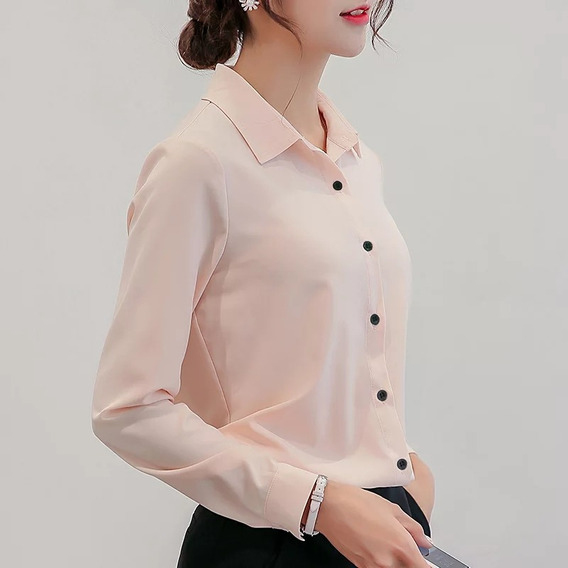 Blusa De Mujer Para Oficina, Casual, Manga Larga, Chiffon