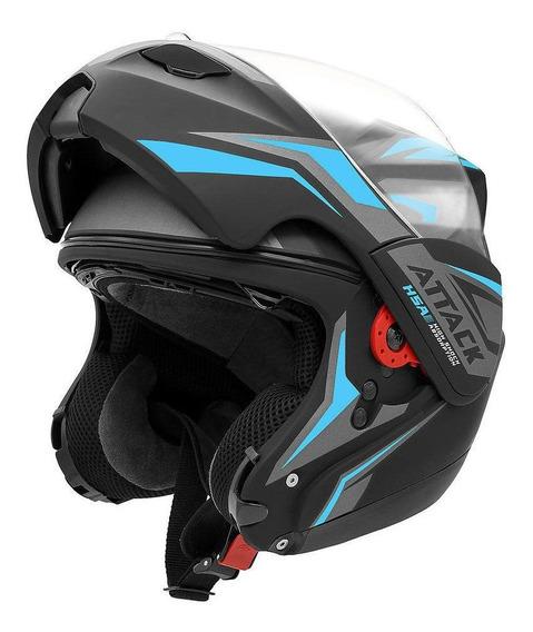 Capacete para moto escamoteável Pro Tork New Attack preto, azul-claro tamanho 62