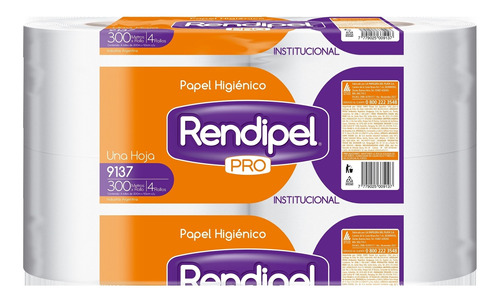 Papel Higiénico Rollo Rendipel 300mts X 4 9137 Rendipel