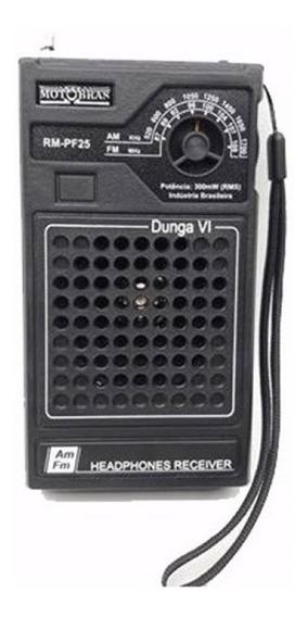 Rádio Portátil Motobrás Rm-pf25 Am/fm - 2 Faixas Dunga Vi