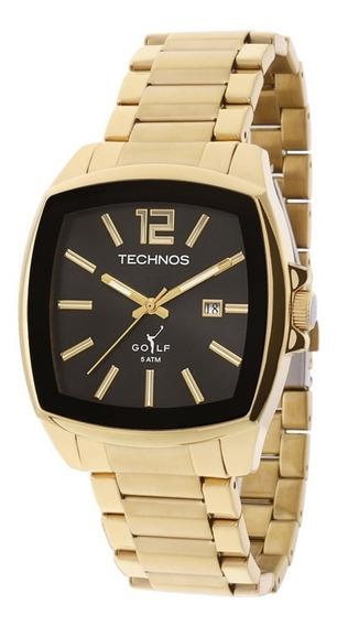 Relógio Technos Quadrado Dourado Masculino Golf 2115koi/4p