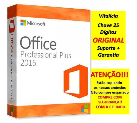 Office 2016 Pro Plus Key Chave Licença 25 Digitos Vitalicia!