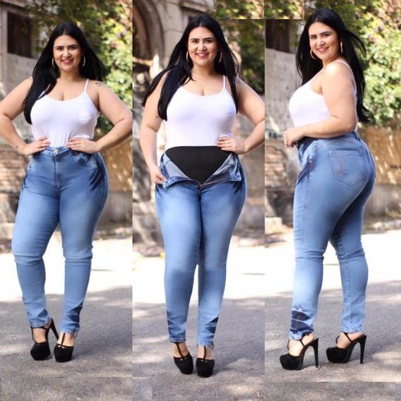 Calça Jeans Plus Size Com Cinta Modeladora Levanta Bumbum Skinny