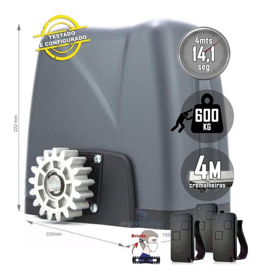 Kit Motor Portão Nano Turbo Rossi 3 Controles 4m Cremalheira
