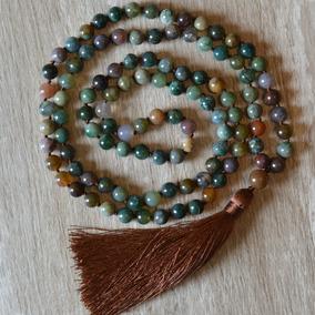 Japamala 108 Contas Longo Pedra Natural Ágata Indiana