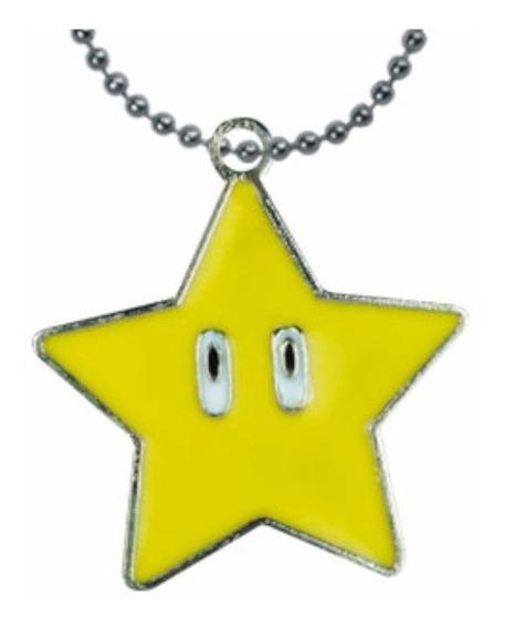 Super Mario Bros Collar Dije Llavero Estrella Hongo