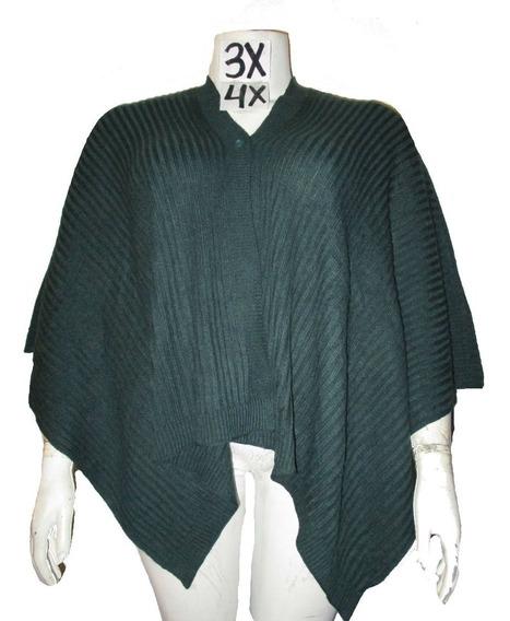Capa Poncho Verde Obscuro Talla 3x/4x De Sweater