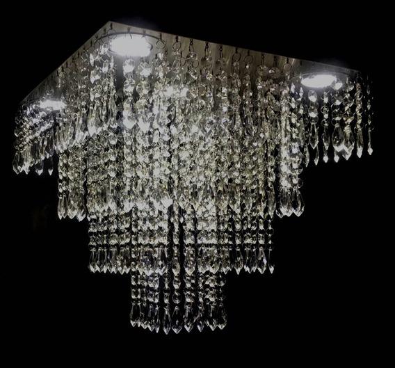 Lustre De Cristal Acrílico 40x40 Montado C/iluminação Grátis