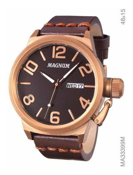 Relógio Magnum Masculino Ma33399m Couro Marrom + Nfe