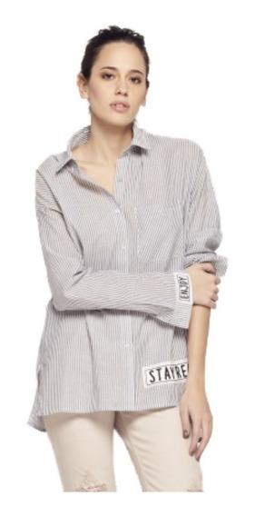 Camisa Rayada Ossira Con Apliques.031