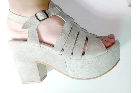 Zapatos Plataforma N°38,gamuza Color Crema