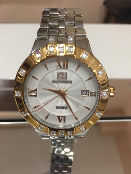 Relógio De Pulso Ana Hickmann Ah28820 Prata Dourado Feminino
