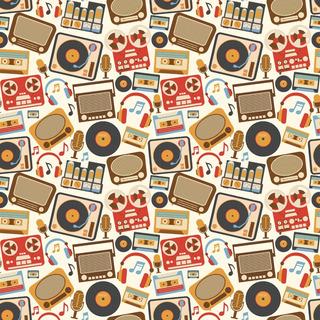 Papel De Parede Retrô Musical Rádios Vitrola Vintage