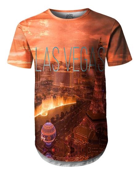 Camiseta Masculina Longline Swag Las Vegas Estampa Digital