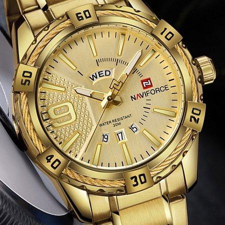 Relogio Masculino Naviforce Modelo Nf9117 Dourado Caixa 50mm Mostrador Dourado Calendario Duplo Prova Agua Frete Gratis