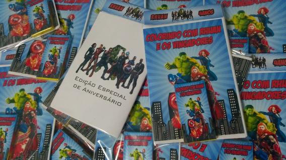 30 Kits Colorir - Livro Personalizado + Giz De Cera
