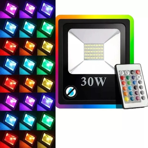 Reflector Led Rgb Exterior 16 Color 30w Control Remoto 220v