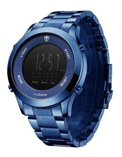 Relógio Masculino Tuguir Digital Azul Top De Linha + Caixa