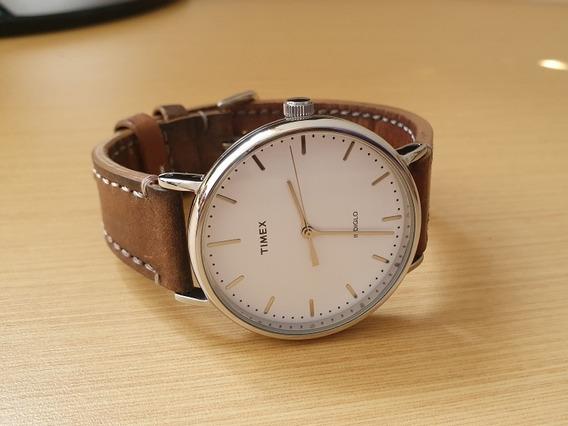 Relógio Timex Weekender Branco Com 2 Pulseiras Couro E Nato