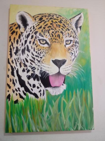 Quadro Decorativo Pintura Em Tela Onça Pintada