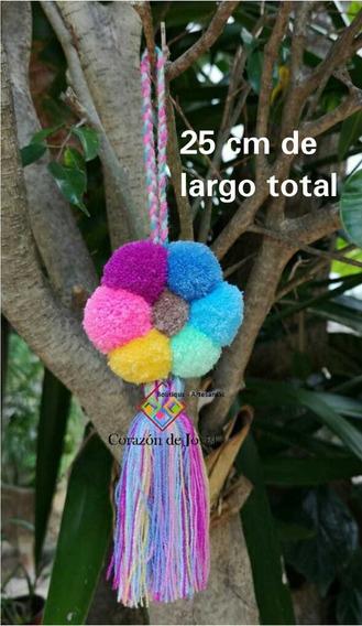 12 Pompones Artesanales Modelo Flor Tonos Pastel/chiapas