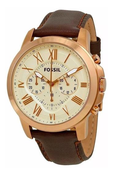Relógio Masculino Fossil Cronografo Fs4991 Dourado