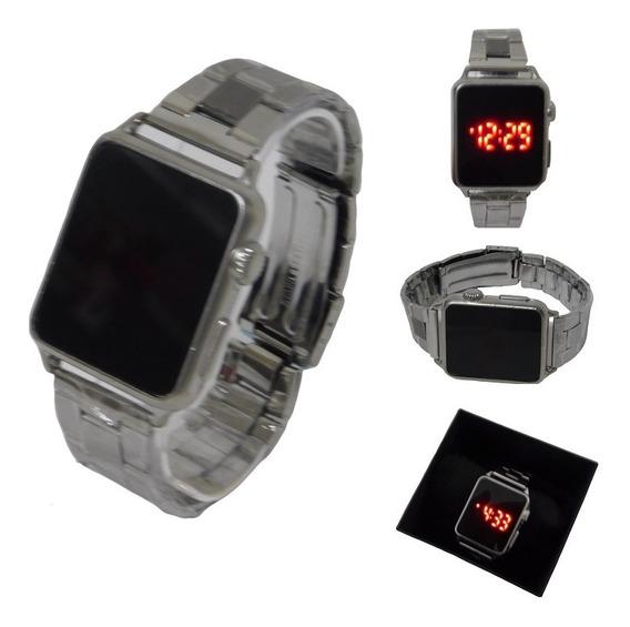 Relógio Led Digital Touch Pulseira De Aço Prata Unissex