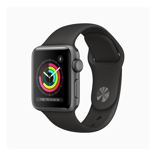 Imagem 1 de 6 de Apple Watch  Series 3 (GPS) - Caixa de alumínio cinza-espacial de 38 mm - Pulseira esportiva preto