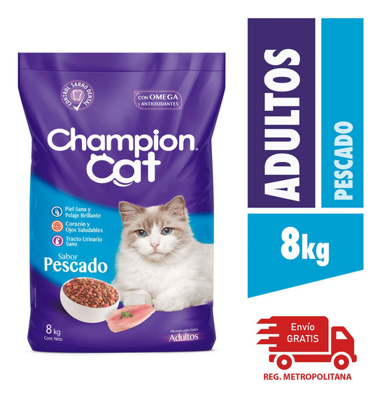 Alimento Para Gatos Champion Adultos Pescado 8kg